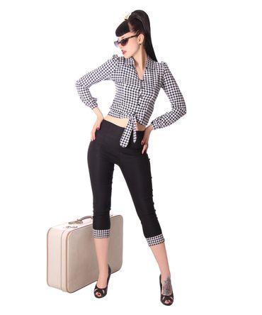 Reeva 50s Style Gingham retro Binde Bluse v. SugarShock – Bild 8