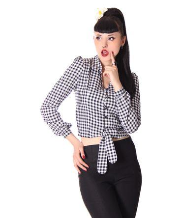 Reeva 50s Style Gingham retro Binde Bluse v. SugarShock – Bild 3