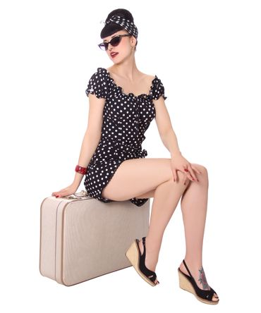 Kailey 50er retro Polka Dots Carmen Shirt Puffärmel Bluse v. SugarShock – Bild 17