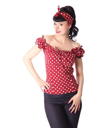 Kailey 50er retro Polka Dots Carmen Shirt Puffärmel Bluse v. SugarShock – Bild 5