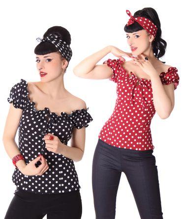Kailey 50er retro Polka Dots Carmen Shirt Puffärmel Bluse v. SugarShock – Bild 2
