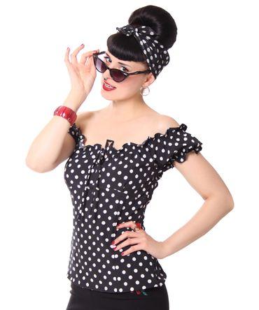 Kailey 50er retro Polka Dots Carmen Shirt Puffärmel Bluse v. SugarShock – Bild 9