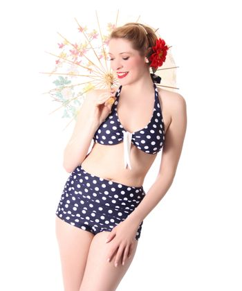 Oliana 50s Pin Up Polka Dots retro High Waist Bikini v. SugarShock – Bild 3