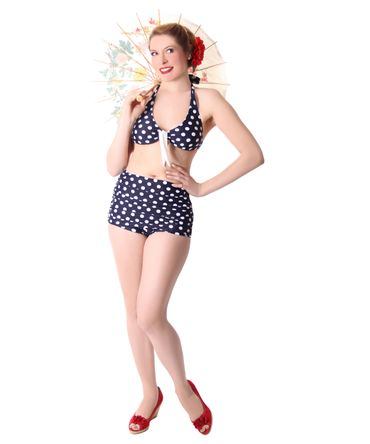 Oliana 50s Pin Up Polka Dots retro High Waist Bikini v. SugarShock – Bild 2