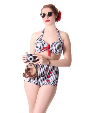 Dorisa 50s Pin Up Pepita Houndstooth retro High Waist Bikini v. SugarShock – Bild 1