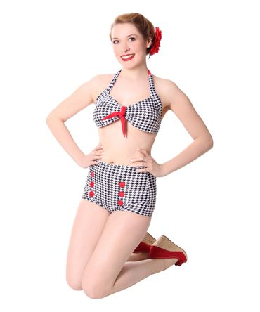 Dorisa 50s Pin Up Pepita Houndstooth retro High Waist Bikini v. SugarShock – Bild 3