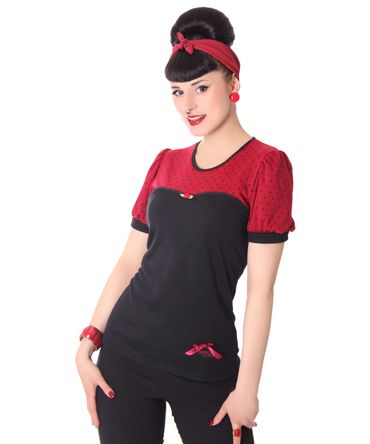 Abington 50s retro Polka Dots Puffärmel T-Shirt v. SugarShock