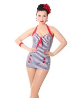Vivia 50er retro Pepita Button Dogtooth Pin Up Badeanzug v. SugarShock 001