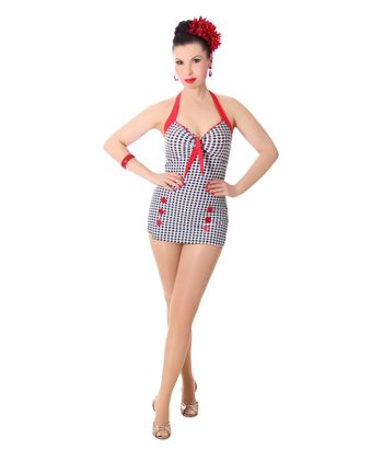 Vivia 50er retro Pepita Button Dogtooth Pin Up Badeanzug v. SugarShock – Bild 2