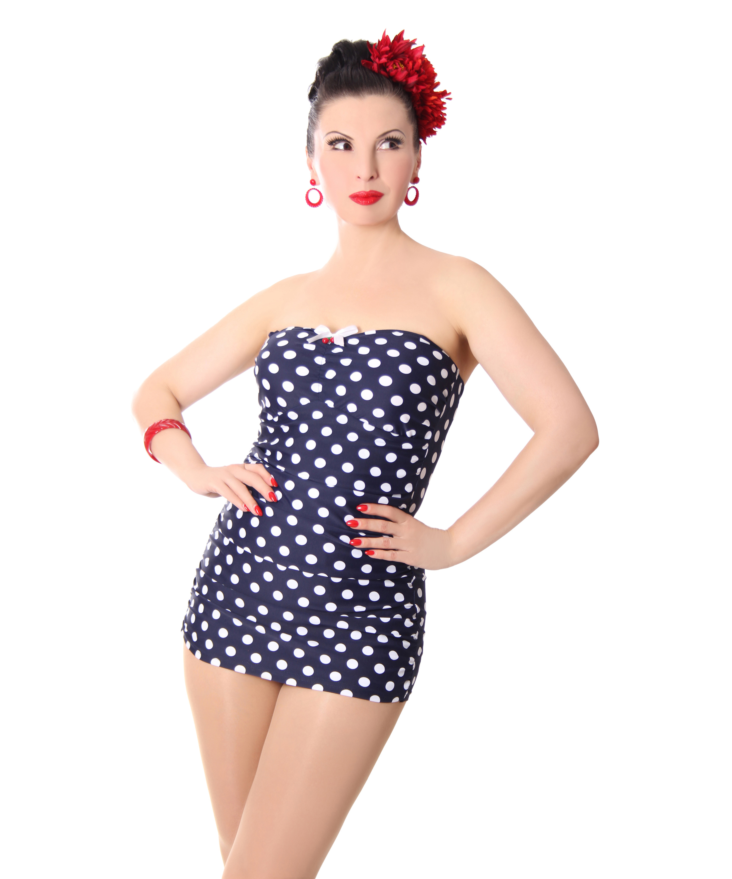 Marynn 50er Retro Polka Dots Pin Up Badeanzug V Sugarshock Frauen