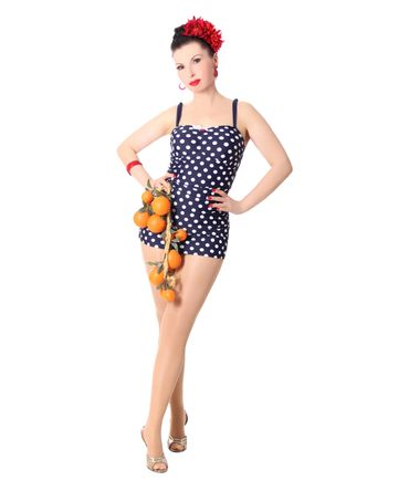Marynn 50er retro Polka Dots Pin Up Badeanzug v. SugarShock – Bild 2
