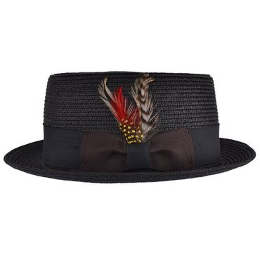 Sommer Stroh Feder Pork Pie retro Feather Straw Trilby Hut Fedora Hat ungefüttert – Bild 2