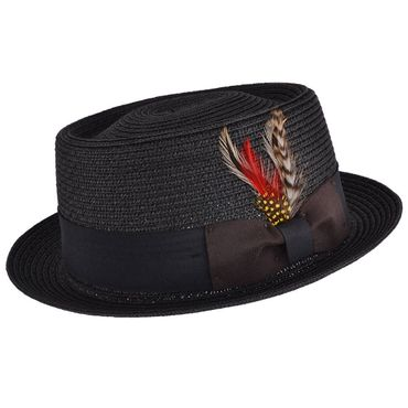 Sommer Stroh Feder Pork Pie retro Feather Straw Trilby Hut Fedora Hat ungefüttert – Bild 1