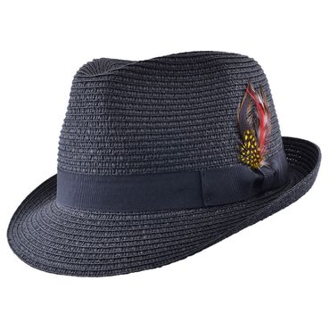 Sommer Strohhut Feder Hut retro Feather Straw Trilby Fedora Hat ungefüttert
