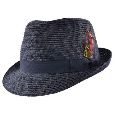 Sommer Strohhut Feder Hut retro Feather Straw Trilby Fedora Hat ungefüttert – Bild 1
