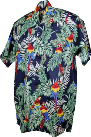 Karmakula retro Papageien Hawaii Blüten Hemd Hawaiian Shirt