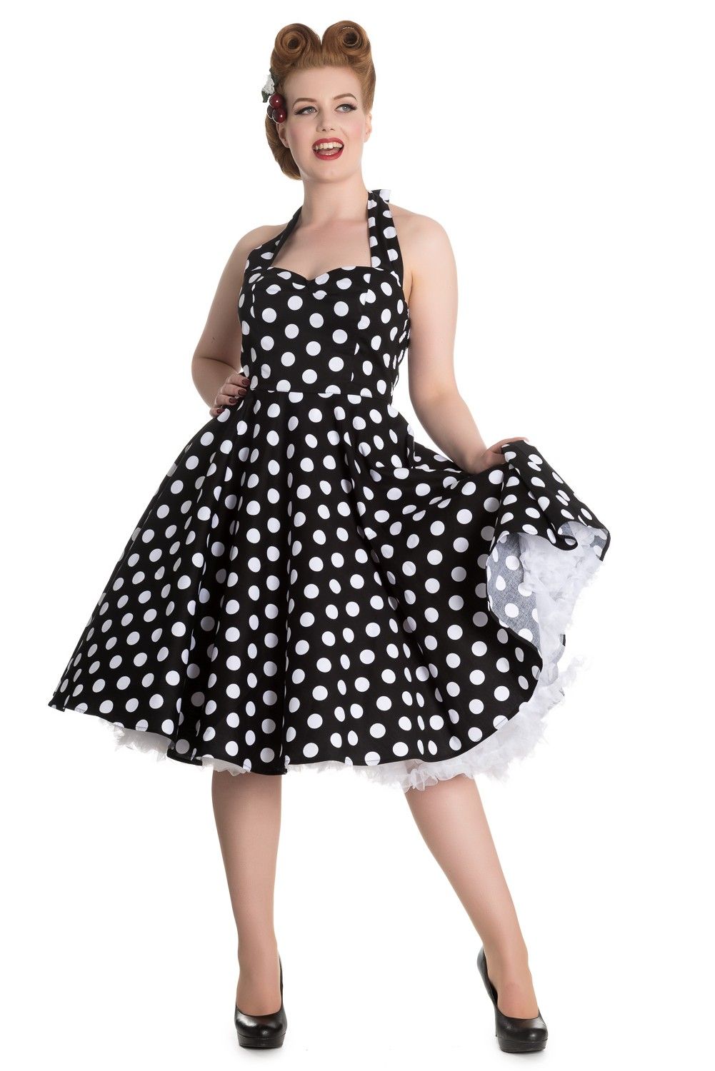 mariam 50er jahre retro polka dots swing petticoat kleid von hell bunny frauen kleider. Black Bedroom Furniture Sets. Home Design Ideas