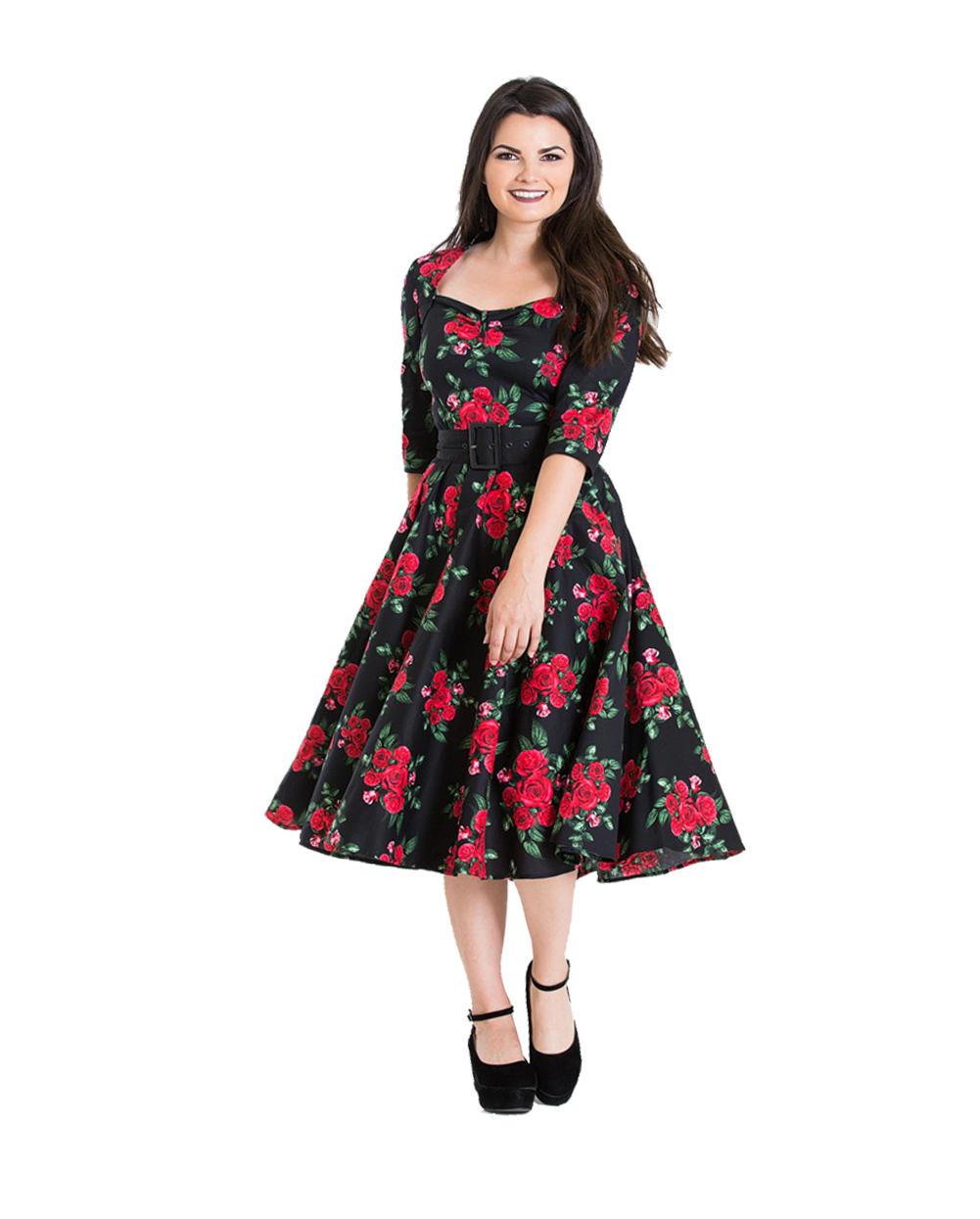 Langarm Von Bunny 50er Rosen Retro Hell Kleid Jahre Petticoat Swing xdEWQrCBeo