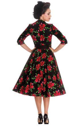 50er Jahre retro Rosen Swing langarm Petticoat Kleid von Hell Bunny – Bild 3