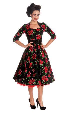 50er Jahre retro Rosen Swing langarm Petticoat Kleid von Hell Bunny – Bild 2