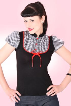 Heidi Gingham Karo Blusen Pin Up retro Puffärmel Rockabilly T-Shirt v. SugarShock