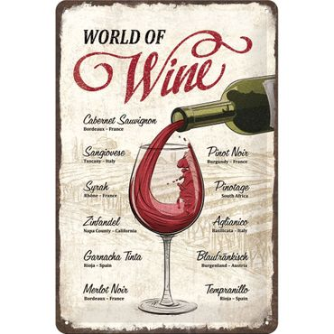World of Wine 50er retro Liebhaber Blechschild
