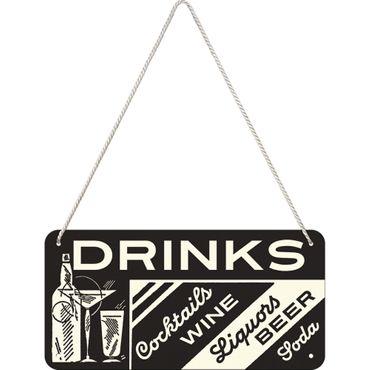 Nostalgic Art Drinks Open Bar Blechschild 50s retro Türschild