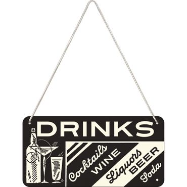 Nostalgic Art Drinks Open Bar Blechschild 50s retro Türschild  – Bild 1