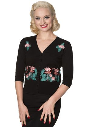 Flamingo V-Neck Strickweste retro Cardigan v. Banned – Bild 1