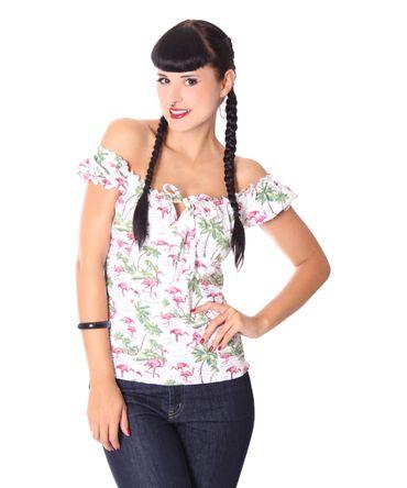 Kailey Flamingo 50s retro Carmen Shirt Puffärmel Bluse v. SugarShock