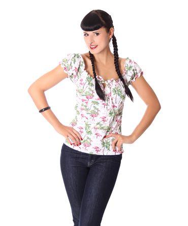 Kailey Flamingo 50s retro Carmen Shirt Puffärmel Bluse v. SugarShock – Bild 2