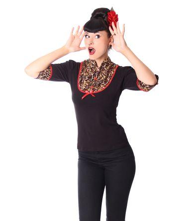 Leni retro Leoparden Longsleeve Blusen Shirt v. SugarShock – Bild 5