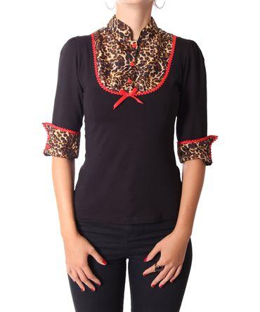 Leni retro Leoparden Longsleeve Blusen Shirt v. SugarShock – Bild 6