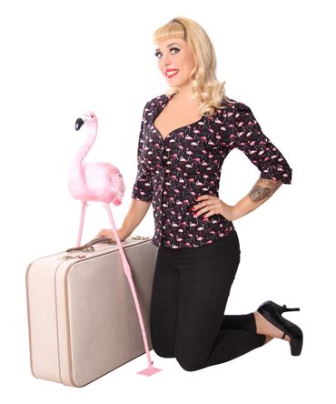Candy Flamingo 50s retro 3/4 Arm Puffärmel Bluse v. SugarShock – Bild 5