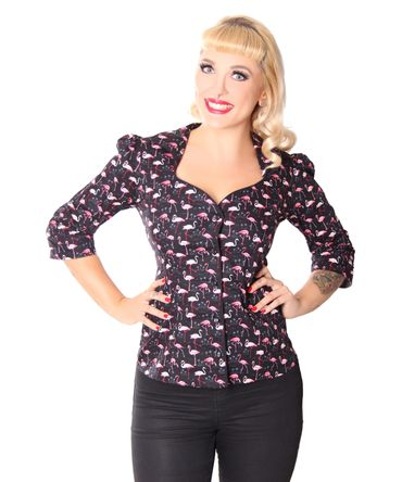 Candy Flamingo 50s retro 3/4 Arm Puffärmel Bluse v. SugarShock