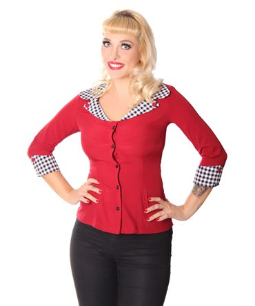 Anthelia 50s retro Gingham Kragen 3/4 Arm Bluse v. SugarShock – Bild 2