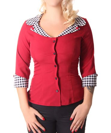 Anthelia 50s retro Gingham Kragen 3/4 Arm Bluse v. SugarShock – Bild 4
