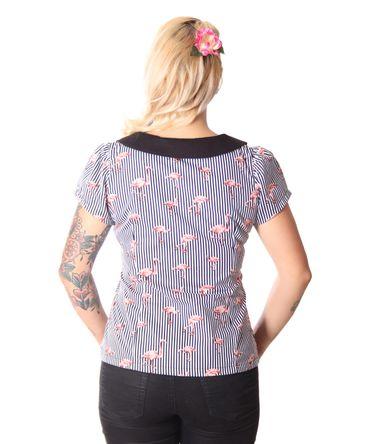 Amunet Flamingo Streifen 50s retro Puffärmel Bluse v. SugarShock – Bild 5