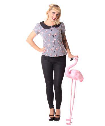 Amunet Flamingo Streifen 50s retro Puffärmel Bluse v. SugarShock – Bild 6