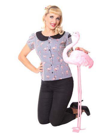 Amunet Flamingo Streifen 50s retro Puffärmel Bluse v. SugarShock – Bild 7
