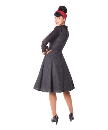 Philine 50s retro Teatime Glencheck Karo Petticoat Tweed Winter Kleid v. SugarShock – Bild 5