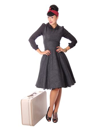 Philine 50s retro Teatime Glencheck Karo Petticoat Tweed Winter Kleid v. SugarShock
