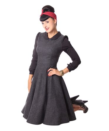 Philine 50s retro Teatime Glencheck Karo Petticoat Tweed Winter Kleid v. SugarShock – Bild 6