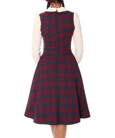 Philine 50s retro Teatime Tartan Karo Petticoat langarm Kleid v. SugarShock – Bild 6