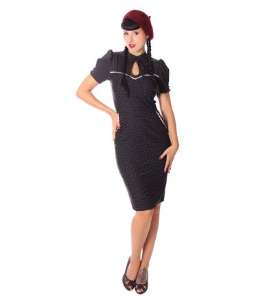 Tasmina 50s retro Peephole Polka Dots Pencil Kleid v. SugarShock – Bild 7