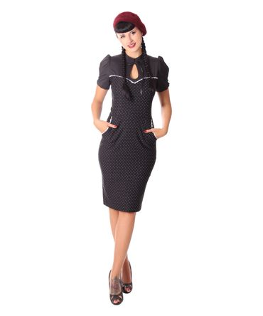 Tasmina 50s retro Peephole Polka Dots Pencil Kleid v. SugarShock – Bild 2