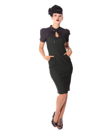 Tasmina 50s retro Peephole Pencil Kleid im Uniform Stil v. SugarShock – Bild 4