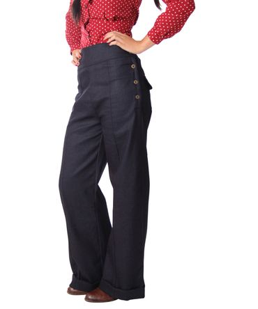 Inessa 40s retro Denim High Waist Marlene Hose v. SugarShock