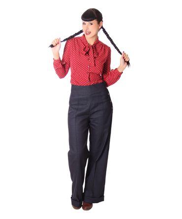 Farrah 50s retro Polka Dots Schluppen Bluse v. SugarShock – Bild 9