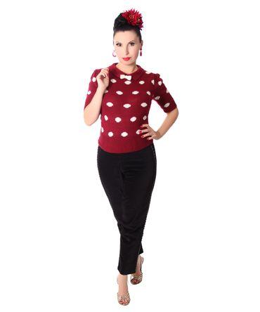 50er retro Gina Polka Dots Strick Shirt Pullover Jumper Strickpulli v. SugarShock – Bild 3
